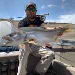 Colorado Gunnison Sports Outfitters Guide Hunter Pierson with a Blue Mesa Lake Trout