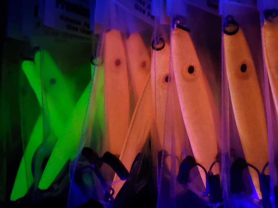 GSO Fishing - Glow Agitator Jigs in Pink and Green