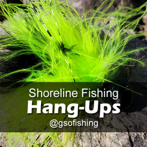 Hang-ups : Showing a GSO Premium HP Marabou in chartreuse & black hooked on a rock