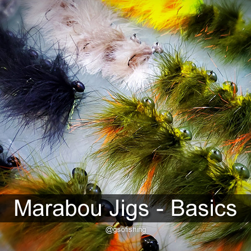 Marabou Jigs - Basics - Photo of our hand tied Premium Marabou Jigs.